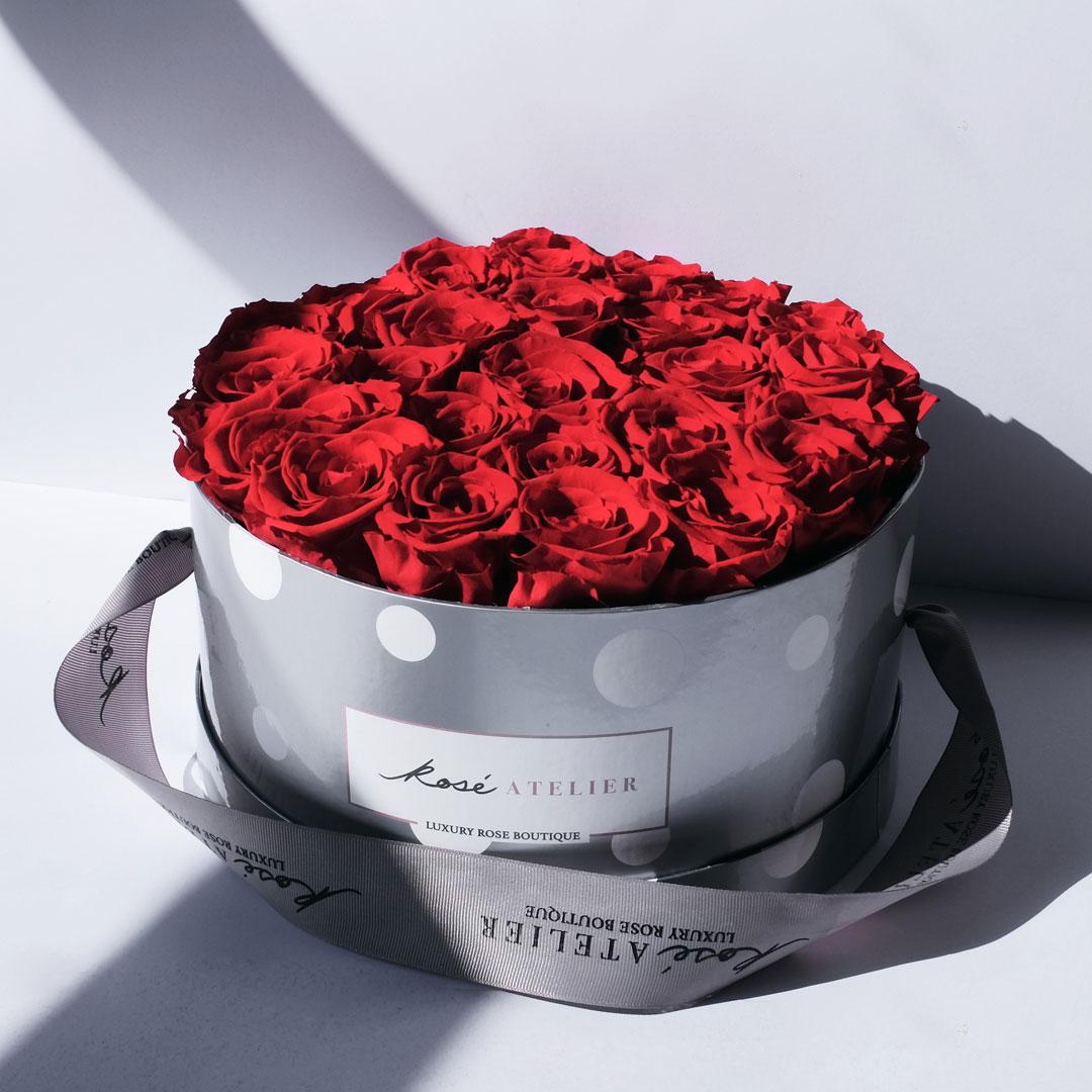 Rosé Atelier ® Colección GLAM, Caja Foxy para 25 Rosas Grand